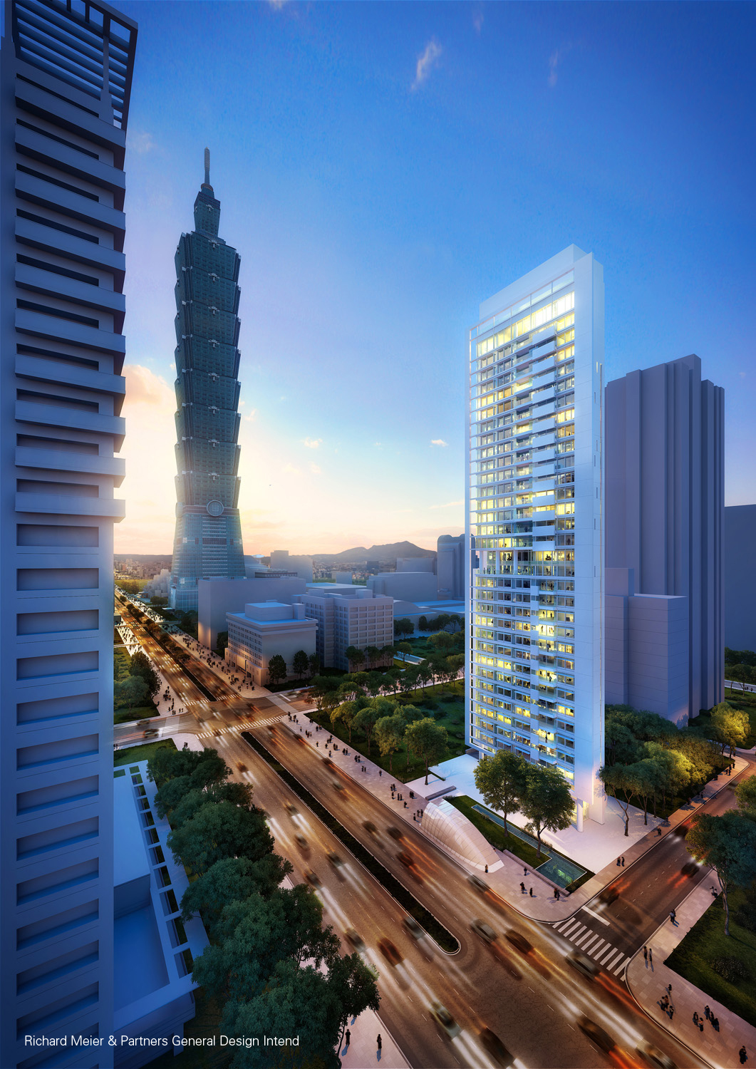 Richard Meier - CDC_Xin-Yi_Residential_Tower, Taipei, Taiwan_render_ster_vd_Week