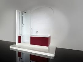 Ligbad en douche in een van Artweger