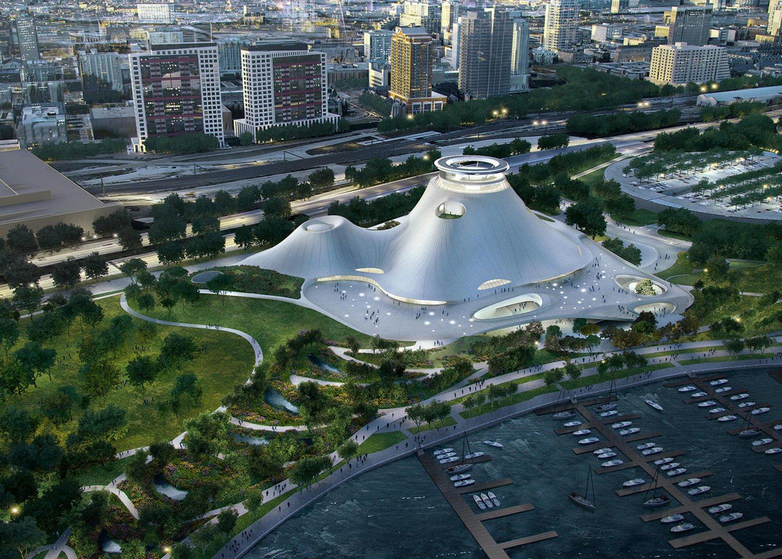 Het afgekeurde ontwerp voor het Chicago Lakefront George Lucas Museum door MAD