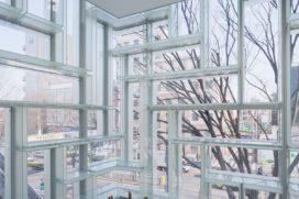 Gevel van vitrine-doosjes door OMA in Tokyo