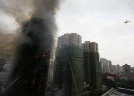 Brand in wolkenkrabber Shanghai