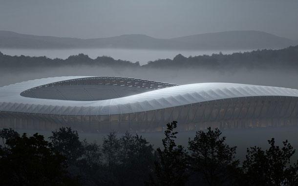 Houten Voetbalstadion Glouchester Zaha Hadid Architects
