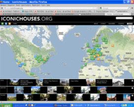 Website met iconische huizen van de 20ste eeuw