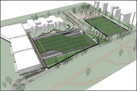 Parkeergarage met sportveld en groene campus