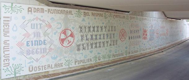 Tunnel Houten met keramisch kunstwerk