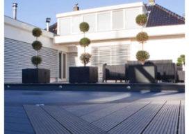 Nieuwe hout/kunststofcomposiet terrasvloer