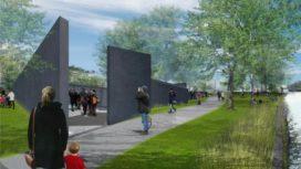 Holocaustmonument door Libeskind in Wertheimpark, Amsterdam
