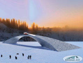 IJsbrug in Finland door Nederlandse studenten