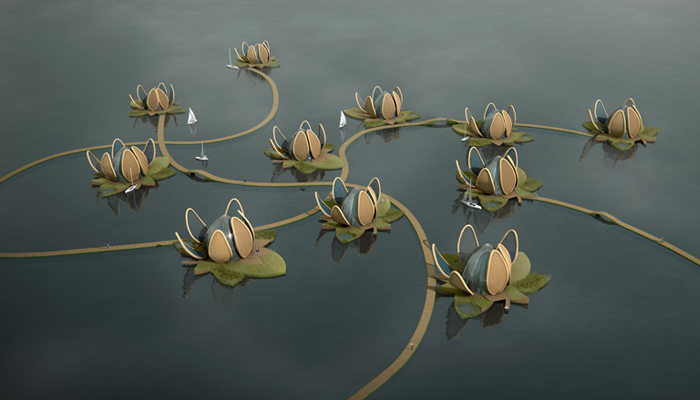 Lotuswoningen China, Render Ster door AchterboschZantman Architecten