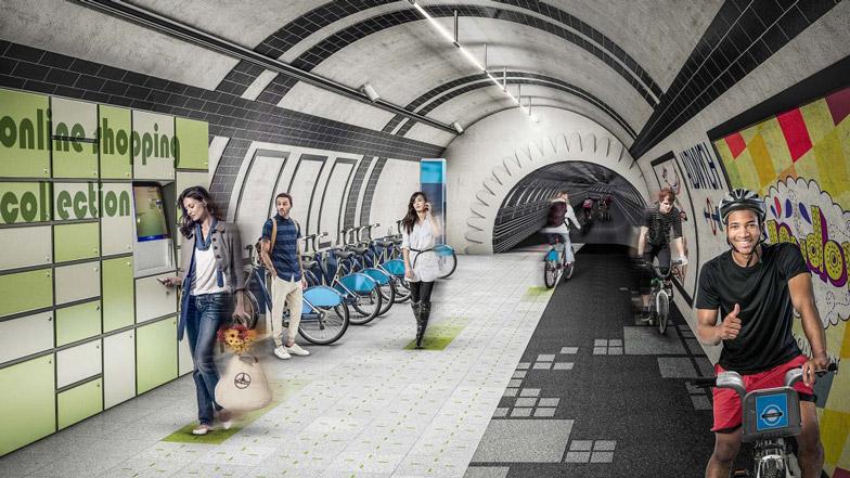 Fietstunnels in oude Londense metrotunnels door Gensler