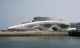 Golvende gevel voor themapaviljoen One Ocean in Yeosu, Zuid-Korea