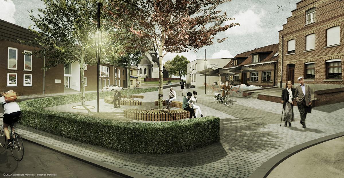 Dorpskern Spiere Zicht op dorpsplein, Delva Landscape Architect