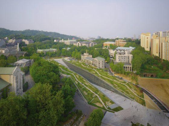 Ewha womans university campus center in seoul door dominique perrault 0 560x420