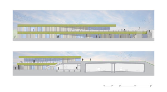 Sportpark schiedam moederscheimmoonen facade and section 560x311