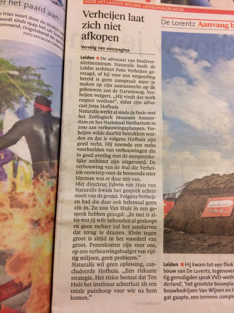 Media aandacht voor Fons Verheijen en zijn claim op auteursrecht op Naturalis