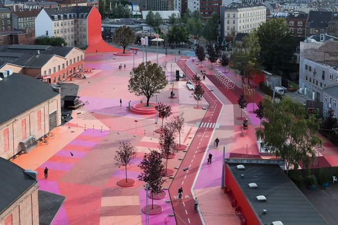 Superkilen, een stedenbouwkundig park in Kopenhagen.