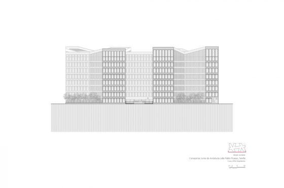 Oficinas consejerias jjaa sevilla dise%c3%b1o plano cruz y ortiz arquitectos cyo 20 alzado noroeste 1300x864 560x372