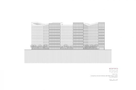 Oficinas consejerias jjaa sevilla dise%c3%b1o plano cruz y ortiz arquitectos cyo 21 alzado sureste 1300x864 560x372