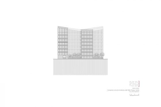 Oficinas consejerias jjaa sevilla dise%c3%b1o plano cruz y ortiz arquitectos cyo 23 alzado suroeste 1300x864 560x372