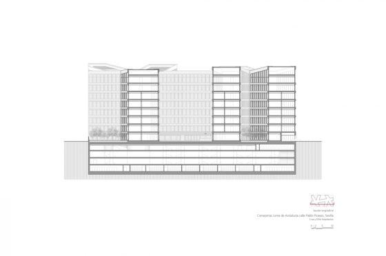 Oficinas consejerias jjaa sevilla dise%c3%b1o plano cruz y ortiz arquitectos cyo 30 seccion longitudinal 1 1300x864 560x372