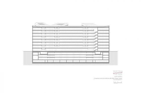 Oficinas consejerias jjaa sevilla dise%c3%b1o plano cruz y ortiz arquitectos cyo 30 seccion longitudinal 2 1300x864 560x372