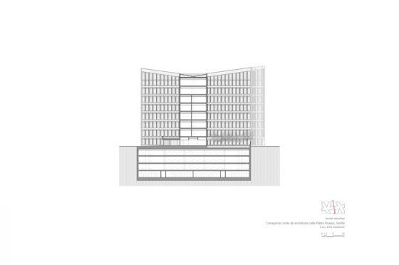 Oficinas consejerias jjaa sevilla dise%c3%b1o plano cruz y ortiz arquitectos cyo 30 seccion transversal 1 1300x864 560x372