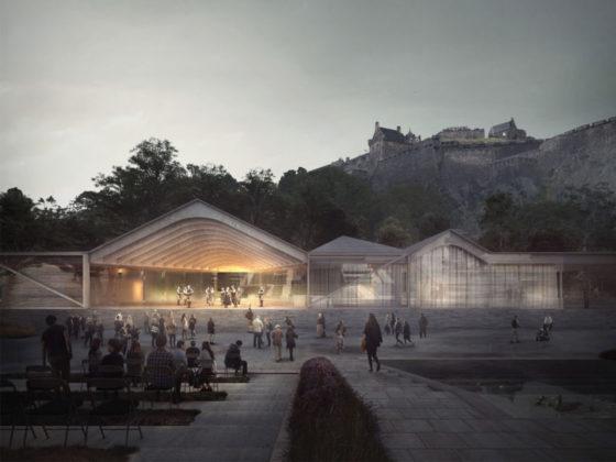 Ross Pavilion Comp Edinburgh Reiulf Ramstad Arkitekter met GROSS.MAX., AECOM, Charcoalblue, Groves-Raines Architects en Forbes Massie Studio
