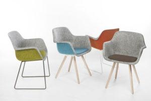 Vilt-stoel in duotoon gemaakt van gerecyclede PET-flessen