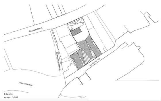 Winkelpand diezerstraat zwolle b o architectuur en interieur b.v. situatietekeningkopie 560x350