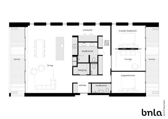 Bnla architecten   duurzame woonloft plattegrond 560x396