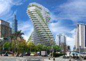Update: Vincent Callebaut's gedraaide toren in Taipei bereikt hoogste punt