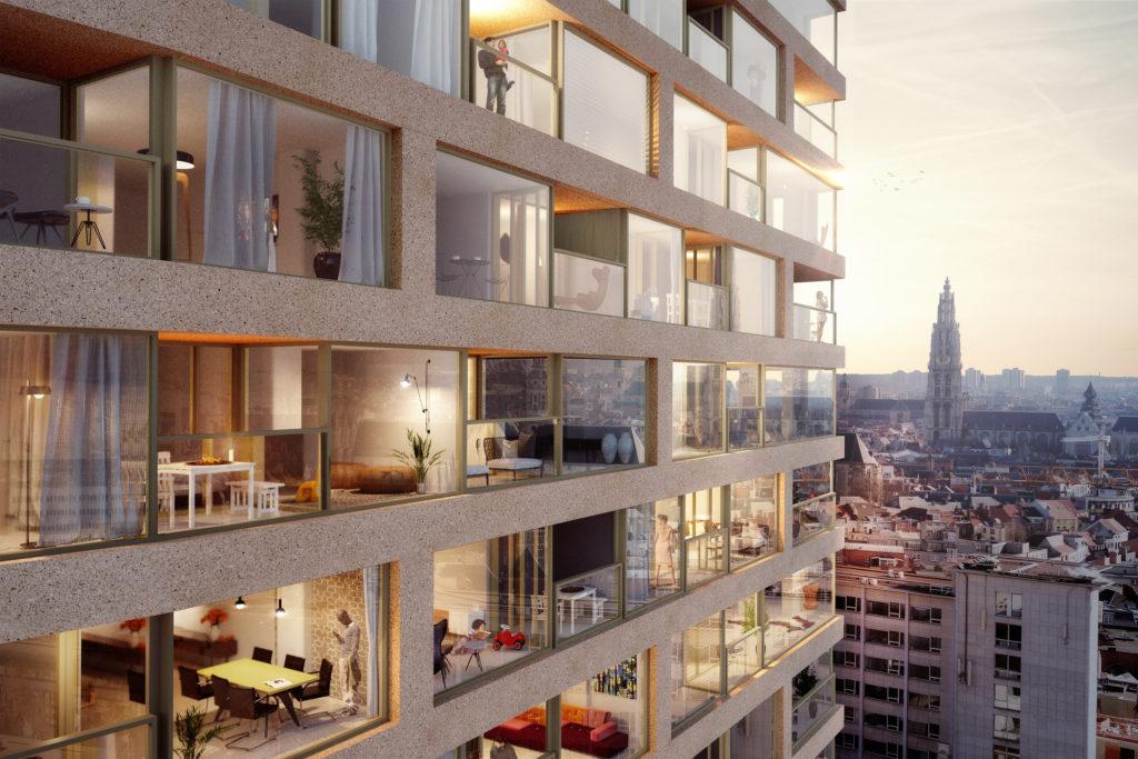 Antwerp-Tower transformeert naar woontoren door Wiel Arets Architects