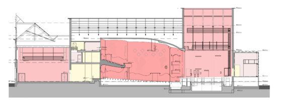 Tekening restauratie en uitbreiding schouwburg kunstmin bestaande doorsnede 560x200