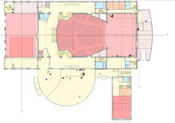 Tekening restauratie en uitbreiding schouwburg kunstmin bestaande plattegrond 560x394