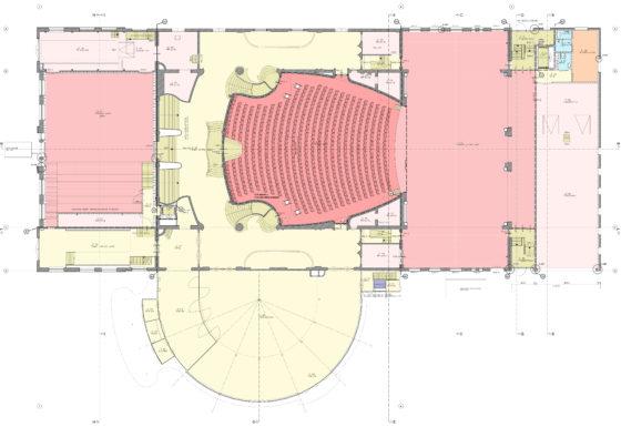 Tekening restauratie en uitbreiding schouwburg kunstmin nieuwe plattegrond 560x385