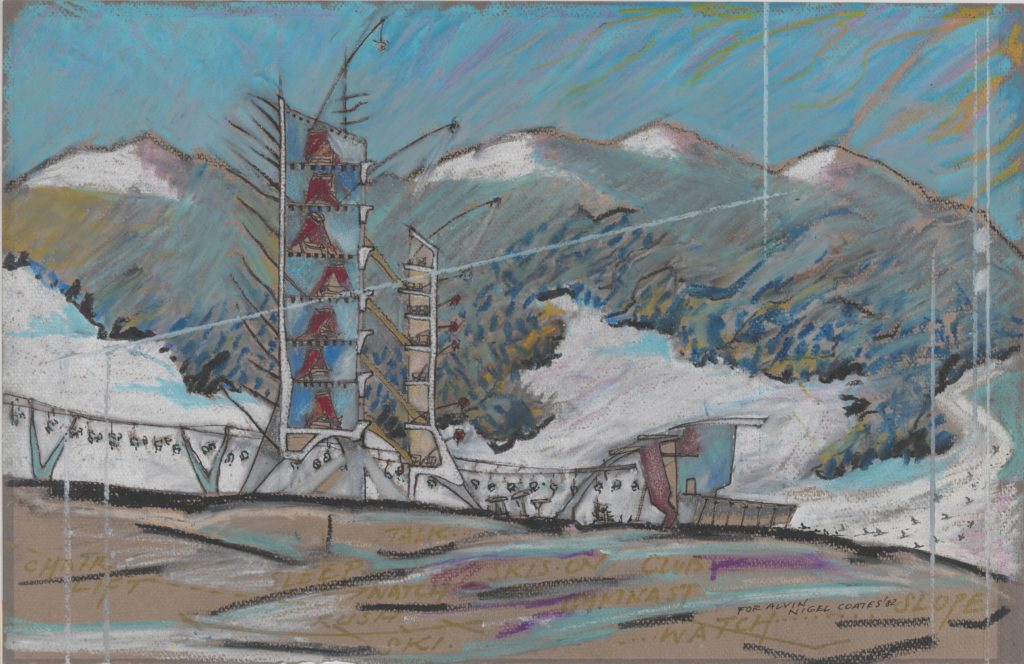 Nigel Coates, 1949 Ski Station, 1982 Oil pastel, pen and black ink, gold marker ink, and spattered white ink on dark gray paper (faded to brown) Imagesheet 32.5 x 50 cm, From the Collection of the Alvin Boyarsky Archive