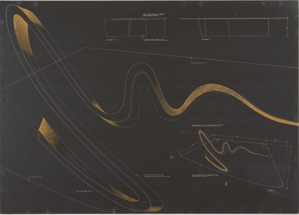 Zaha Hadid, Sperm Table, 1988 © Zaha Hadid. From the Collection of the Alvin Boyarsky Archive