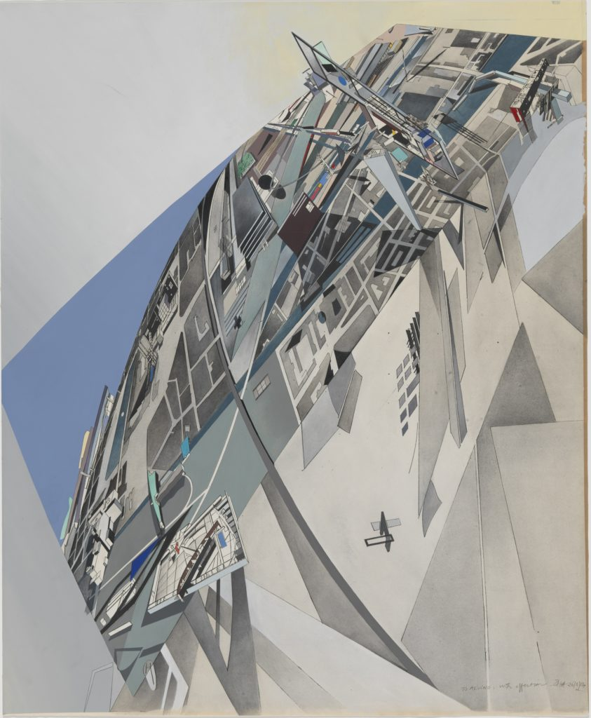 Zaha Hadid, The World (89 Degrees), 1984 Print with hand applied gouache and ink wash on paper Sheet 69.9 x 57.5 cm, From the Collection of the Alvin Boyarsky Archive image © Zaha Hadid Foundation
