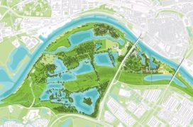 Plannen Stadsblokken Meinerswijk Arnhem voor uiterwaardenpark met woningen