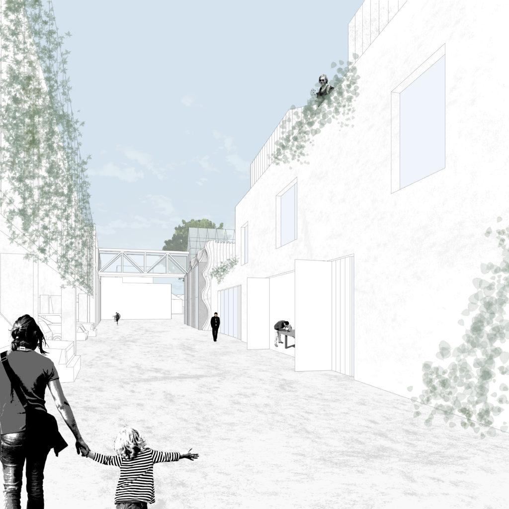 Het straatje tussen het parkeergebouw en ambachtsdorp ©Houben/Van Mierlo architecten