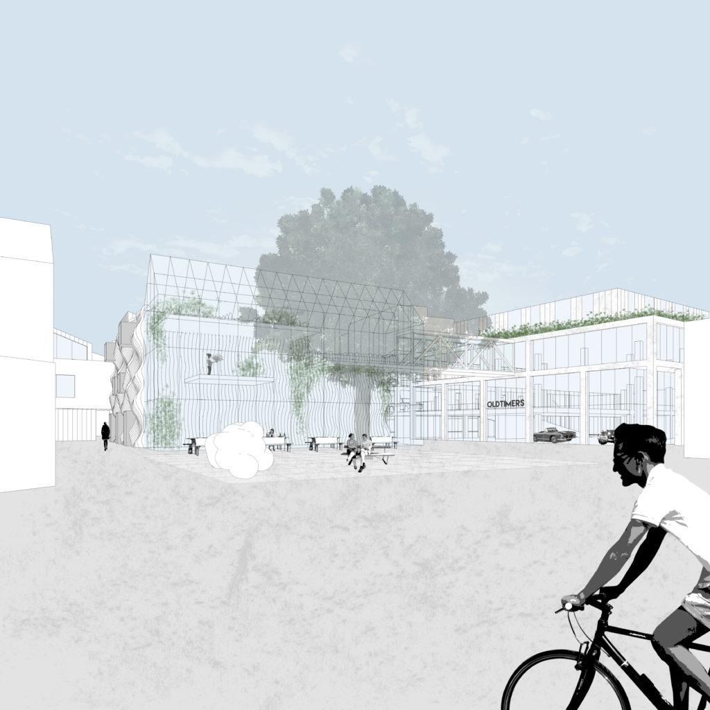 Het gashouderplein met zicht op de Reflex-galerie van de Body Building en het werkgebouw ©Houben/Van Mierlo architecten-NRE-IV-Straatbeeld-5