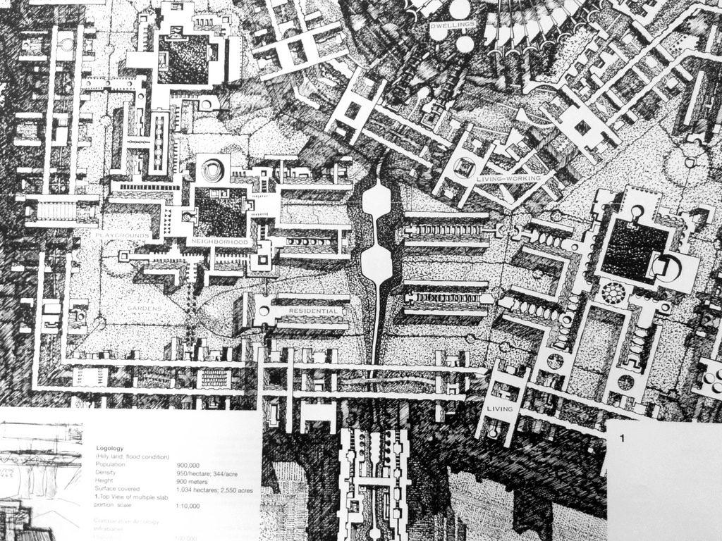 Uit het boek 'Arcology: The City in the Image of Man' door Paolo Soleri