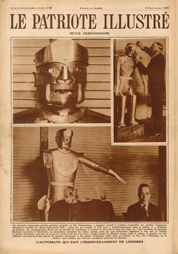 Een demonstratie van Eric the Robot in 1928