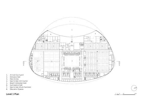Sportcampus zuiderpark faulknerbrowns architects l1 plan annotated 560x396