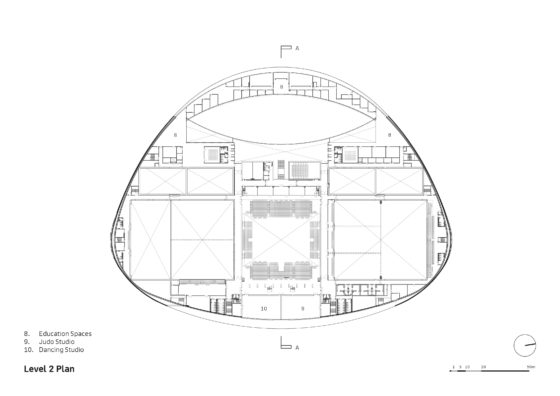 Sportcampus zuiderpark faulknerbrowns architects l2 plan annotated 560x396