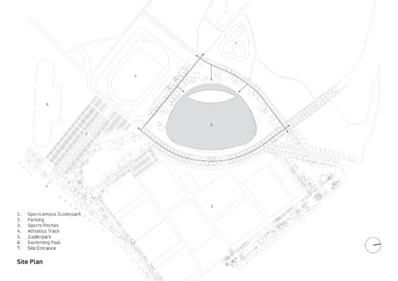 Sportcampus zuiderpark faulknerbrowns architects site plan annoated 560x396